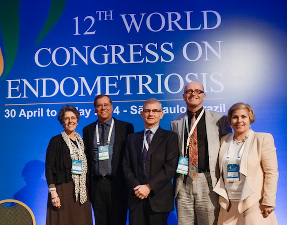 WES President Linda Giudice, SBE President Rui Ferriani, WCE2014 President Mauricio Abrao, WES President Elect Neil Johnson and WCE2017 President Catherine Allaire at the Closing Ceremony of the 12th World Congress on Endometriosis